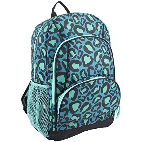 Eastsport Multi Pocket School Backpack, Blue Leopard Print