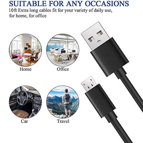 Micro USB Cable 10Ft,2 Pack Extra Long Android Charger Cable,DEEGO Durable Fast Sync Charging Cord for Samsung Galaxy S7 S6 Edge J7,Note 5,Note 4,LG G4,Android Phone,PS4,Smartphone,Camera,Black