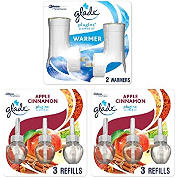 Glade PlugIns Scented Oil Starter Kit, Plug In Air Freshener and Refills, Apple Cinnamon, 2 Warmers + 6 Refills, 4.02 Fl. Oz, Pack of 6