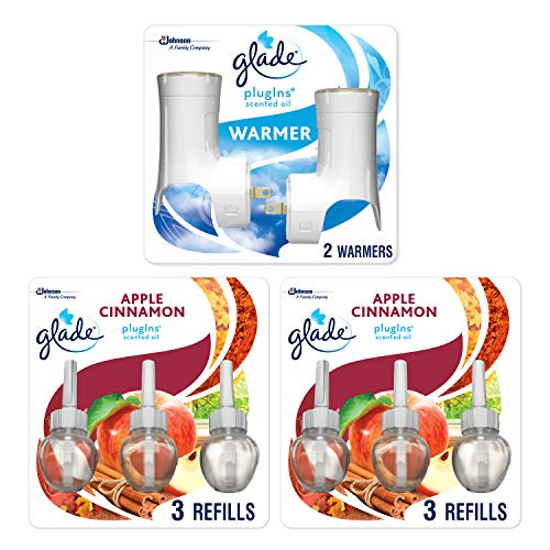 Glade PlugIns Scented Oil Warmer & Apple Cinnamon Starter Kit (2 Warmers + 6 Refills), Essential Oil Infused Wall Plug in, up to 50 Days of Continuous Fragrance, 2 Warmers, 4.02 FL OZ, Pack of 6