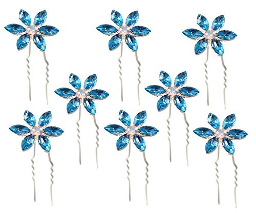 Blue Crystal Hair Pins Flower Bridal Wedding Hair Accessory Rhinestone Center (Set of 8)