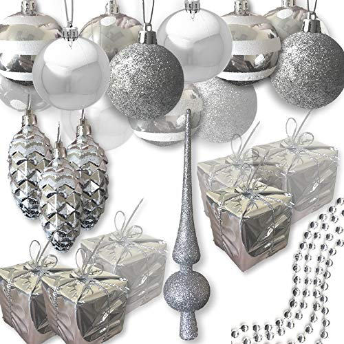 Christmas Ornaments Silver- Set of 27 Assorted Shapes - Christmas Balls, Small Silver Presents and Shiny Pine Cones with White Glitter - 1 Silver Glitter Tree Topper- Trim- a-Tree Kit