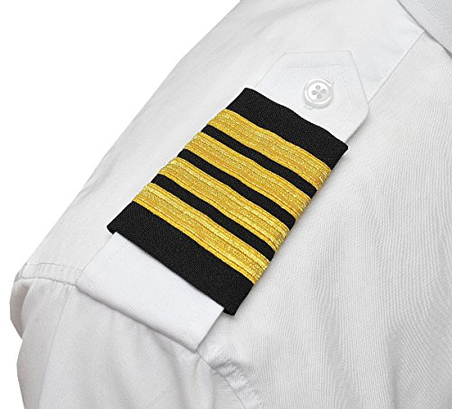 Captain Uniform (Aero Phoenix Professional Pilot Uniform Epaulets - Four Bars - Captain - Gold Metallic on Black)