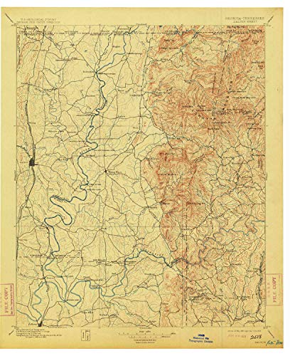 YellowMaps Dalton GA topo map, 1:125000 Scale, 30 X 30 Minute, Historical, 1897, Updated 1913, 20.6 x 16.8 in - Tyvek (Cohutta Ga)