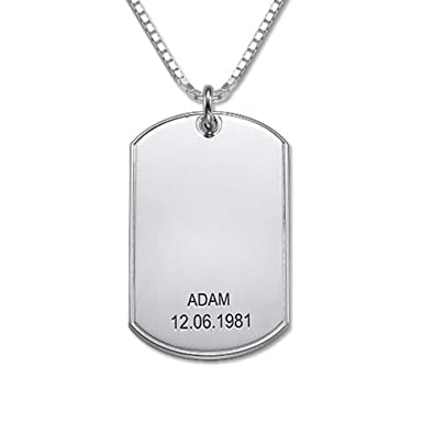 Silver dog tag necklace personalised with any name and date free silver dog tag necklace personalised with any name and date free engraving aloadofball Images