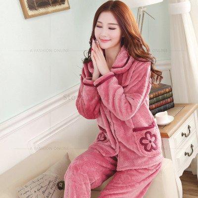 93e8a2589d MH-RITA Autumn Winter Long Sleeved Women Flannel Thick Pajamas Coral Fleece Suits  Pajama Sets Lovely Pyjamas Women Homewear Plus Size 10 M: Amazon.co.uk: ...