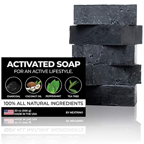 Activated Charcoal Tea Tree Soap - with Peppermint! Made in the USA: All Natural, Vegan Bar Soap with Organic Oils for Face & Body. Wash Away Odor & Germs (5-Pack of 4 Ounce Soap Bars)
