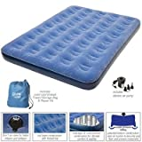 Pure Comfort Low Profile Flock Top Air Bed (Blue, Full Size), Outdoor Stuffs