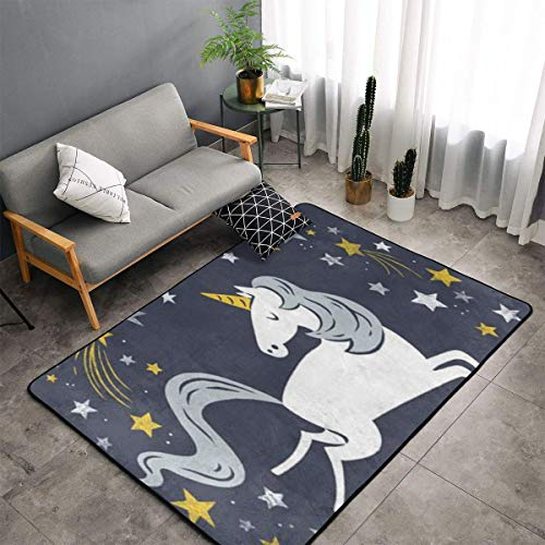 LIN. Cute Unicorn Kitchen Rugs Memory Foam Floor Pad Rugs with Non Skid Rubber Backing, Fast Dry Bathroom Rug Mat Standing Mat Home Art Comfortable Standing Mat