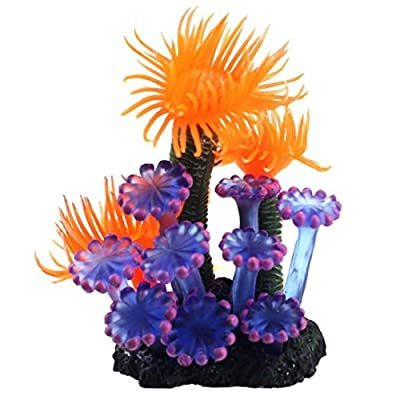 Superdream Home Soft Artificial Resin Coral Fish Tank Aquarium Lovely Decoration, 3 inch, Purple-Yellow by Superdream
