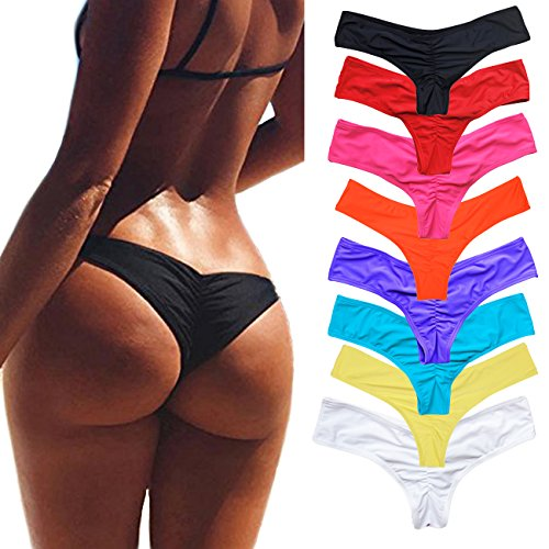 Sexy Brazilian Bikini Bottom for women V Cheeky T-Back Booty Solid Classic Ladies Swimsuit Black M