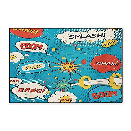 Superhero Door Mat Small Rug Pop Art Style Comic Speech Bubbles Funny Humor Expressions Boom Splash Bang Bath Mat for Bathroom Mat 16