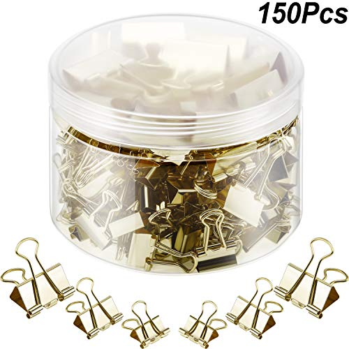 150 Pieces Binder Clips Paper Clamp Clips Assorted Sizes (Gold)