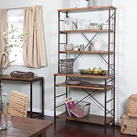 Townsend Bakers Rack Durable Wood And Metal Construction Plenty Of Storage Space