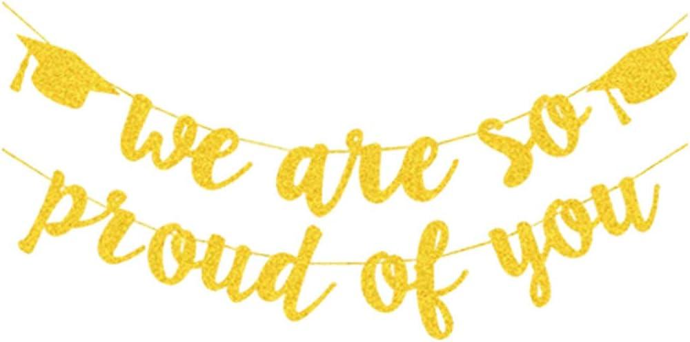 Amosfun Gold Glitzernd Sind Wir So Stolz auf Dich Banner Abschluss Banner f/ür Abschlussfeierartikel Abschlussfeierdekorationen