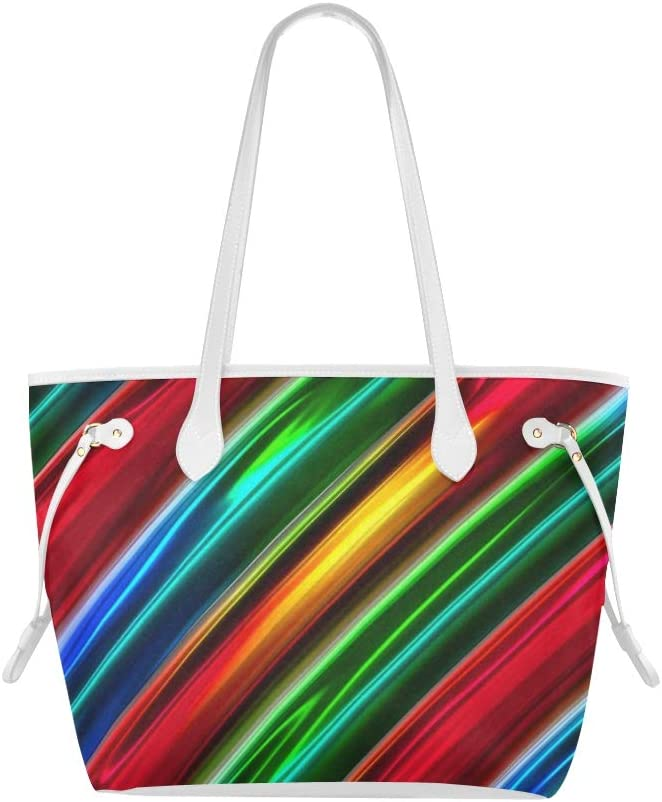 Shoulder Bag Gym Stripes Metallic Color Colorful Travel Shoulder Bags Shopping Tote Bag Large Capacity Water Resistant with Durable Handle