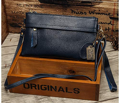 Bag Leather Womens Natural blue Coin Purse Dark Bag Crossbody TE1BBqwx
