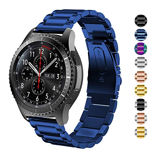 DELELE Compatible for Samsung Gear S3 / Galaxy Watch 46mm Band, 22mm Solid Stainless Steel Metal Business Replacement Strap for Samsung Gear S3 Frontier/Classic/Galaxy Watch 46mm Women Men (Blue)