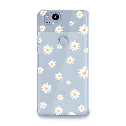 premium selection 6a41b 6f84c CasesByLorraine Google Pixel 2 Case, Cute Daisy Floral Flowers Clear  Transparent Case Flexible TPU Soft Gel Protective Phone Cover for Google  Pixel 2 ...