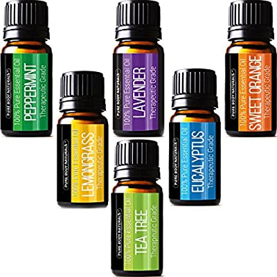 Aromatherapy Top 6 Essential Oils - Therapeutic grade - with Lavender, Tea Tree, Eucalyptus, Sweet Orange, Lemongrass & Peppermint - Basic Sampler Gift Set & Premium Kit - 6/10 M - Parent