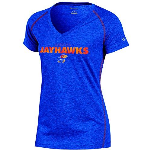 Champion (CHAFK) NCAA Kansas Jayhawks Women's Short Sleeve V Neck Tee, Small, Blue Heather
