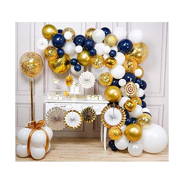 PartyWoo Ballon Bleu Marine Doré Blanc, Ballon Bleu Roi, Ballons Dorés, Ballon Blanc, Ballon Doré Bleu, Tassel Guirlande, Éventail, Kit Ballon Outil, pour Graduation Party, Deco Mariage Bleu Marine 1