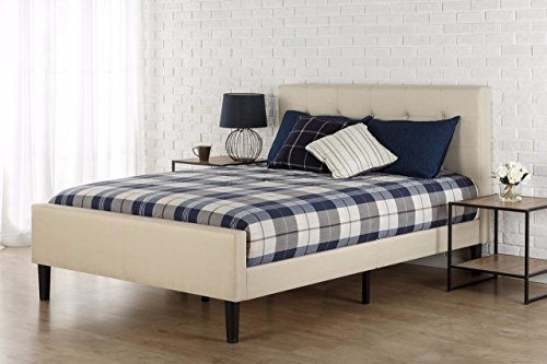 Zinus Upholstered Button Tufted Platform Bed with Footboard / Mattress...