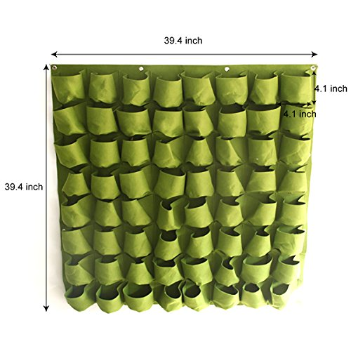 Mr Garden Wall Hanging Mount Planter Plant Grow Bag 64 Pocket Planter Grow Bag Green,H3.28ftxW3.28ft