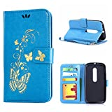 MOONCASE Moto G (3rd Gen) Case, Bronzing Butterfly Pu Leather Wallet Pouch Etui Flip Kickstand Case Cover for Motorola Moto G (3rd Generation) Bookstyle Folio [Shock Absorbent] TPU Case with Photo Frame Blue