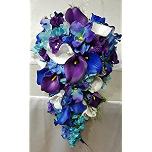 Peacock Orchid Calla Lily Cascading Bridal Wedding Bouquet & Boutonniere 1