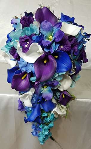 Peacock Orchid Calla Lily Cascading Bridal Wedding Bouquet & - Lily Bouquet Orchid Calla