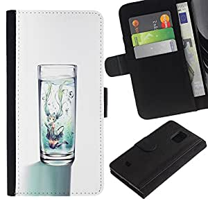 KLONGSHOP / Tirón de la caja Cartera de cuero con ranuras para tarjetas - Clean Diet Minimalist White - Samsung Galaxy S5 Mini, SM-G800, NOT S5 REGULAR!