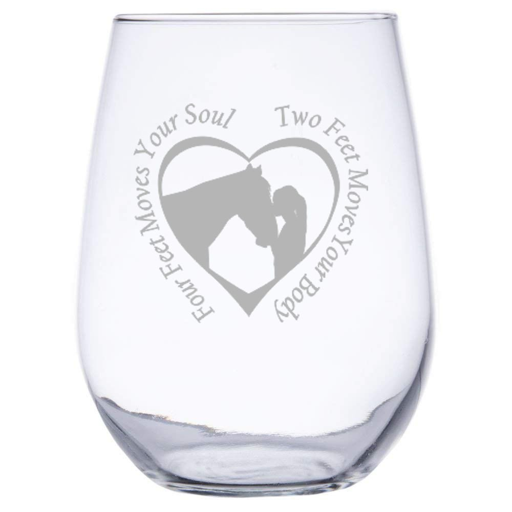 Two Feet Moves Your Body Four Feet Moves Your Soul by InkPonyArt 17 ounce Stemless Wine Glass with Girl and Horse in a Heart