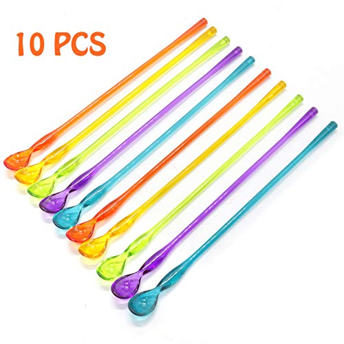 AQUEENLY Cocktail Spoon Set of 10 Mixed Color Plastic Drink Stirrers with Long Handle for Iced Tea Coffee Ice Cream, 10.3 Inch