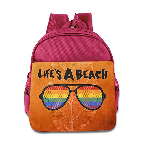 Custom Life's A Beach Funny Boys And Girls Shoulders Bag For 1-6 Years Old Pink
