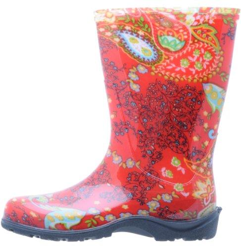 Sloggers botas de agua para mujeres rojo paisley