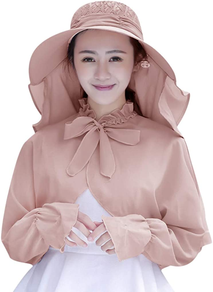 Womens Sun Coat Hat with 360° UV Protection Face Neck Flap Shield Cover Large Brim Foldable UPF 50+