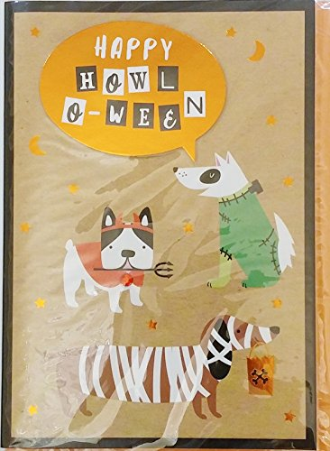 Happy Howl-O-Ween Greeting Card w/ Dogs in Costumes -