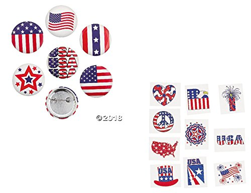 COOL (96 pce) Patriotic Party Favor Pack - 24 Patriotic Buttons/Pins & 72 Glitter Tattoos - Novelty/Stars & Stripes/USA/American Pride (Pce Pack)