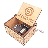 Moana Music Box Hand Crank Musical Box Carved Wooden,Play The Theme Song of Moana,Brown