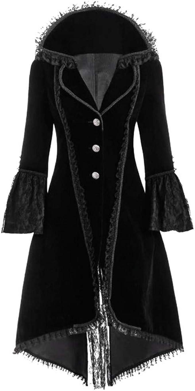 Damen Retro Vintage Spitze Strickjacke Kragen Steampunk Top Mittelalter Mantel