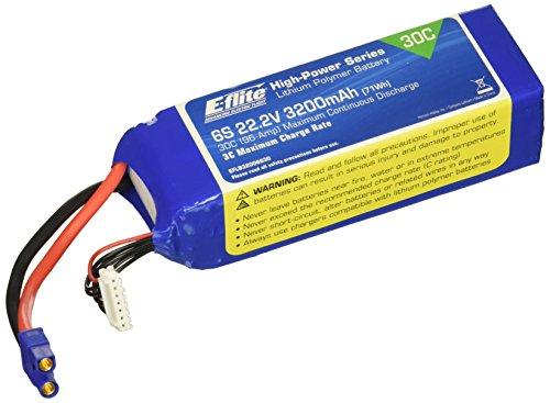 E-flite 3200mAh 6S 22.2V 30C LiPo, 12AWG: EC3, EFLB32006S30