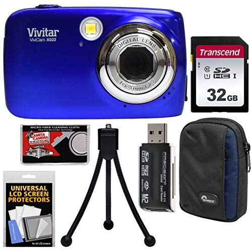 Vivitar ViviCam VX022 Digital Camera (Blue) with 32GB Card + Case + Tripod + Kit