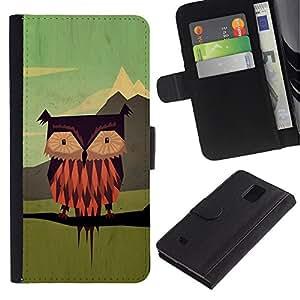 WINCASE Cuadro Funda Voltear Cuero Ranura Tarjetas TPU Carcasas Protectora Cover Case Para Samsung Galaxy Note 4 IV - hombre búho vinagreta de dibujos animados arte