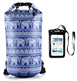 Cheap SAE99 Elephant Print Floating Waterproof Dry Bag/w Waterproof Phone Case, for Kayaking, Rafting, Boating, Swimming, Camping, Hiking, Beach, Fishing (Navy Blue/w White Print, 15L)