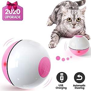 Iokheira Bola de Gato, Juguetes para Gatos,Carga USB Juguete Gato Automática, Bola Eléctrica de 360 Grados Juguete…