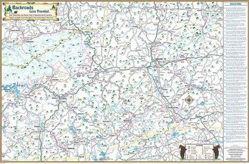 Covering Waterfalls and National Forests and much more Backroads Less Traveled Map Map of North Carolina and part of NE Tennessee-Folded