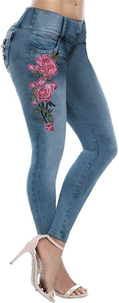 Mikey Store Fashion Womens Printed Embroidery Denim Jean Slim Skinny Tight Pants