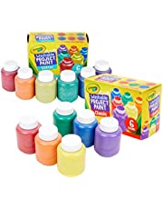 Crayola 2 Pack Washable Kid's Paint (6 Count Each) with 8 ct. Art & Craft Brush Set…