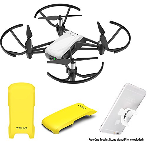 Snap-on Top Cover Case for DJI Tello Drone with Luckybird Touch Silicone Stand (Yellow)
